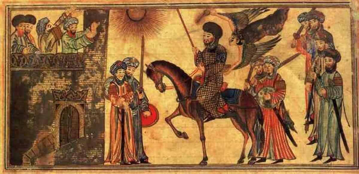 Mohammed unterwirft die Banu Nadir. Aus dem Dschami' at-tawarich, 14. Jhdt.