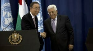 Palestinian President Mahmoud Abbas, right, shakes hands with U.N. Secretary-General Ban Ki-moon during a press conference in the West Bank city of Ramallah, Wednesday, Oct. 21, 2015. U.N. Secretary-General Ban Ki-moon called for calm during a surprise visit to Jerusalem on Tuesday ahead of meetings with Israeli and Palestinian leaders, in a high-profile gambit to bring an end to a monthlong wave of violence. (AP Photo/Majdi Mohammed)