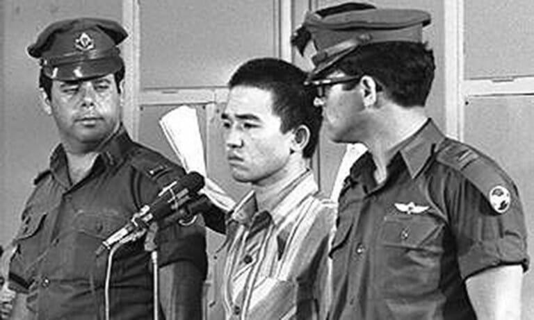 Terrorist Okamoto bei seinem Prozess in Israel