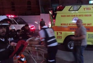 Magen David Adom evacuates the wounded in Tel Aviv attack