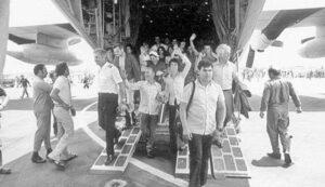 Befreite Geiseln in Entebbe