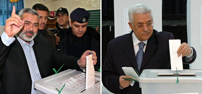 Hamas-Führer Haniyeh und Fatah-Führer Abbas bei den letzten Wahlen zum Palästinensischen Legislativrat im Jahr 2006.