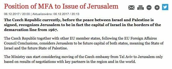Niemand hat die Absicht, Jerusalem als Hauptstadt anzuerkennen