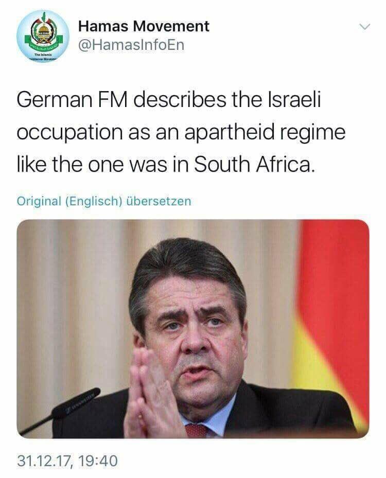 Terrororganisation Hamas pflichtet deutschem Außenminister Gabriel bei