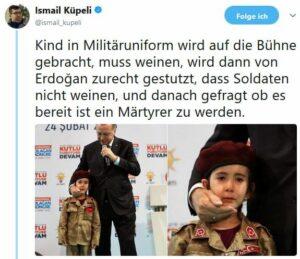 Erdogan fragt weinendes Mädchen, ob es bereit ist, Märtyrerin zu werden