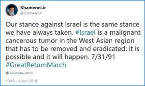 Irans oberster Führer droht Israel einmal mehr mit Vernichtung