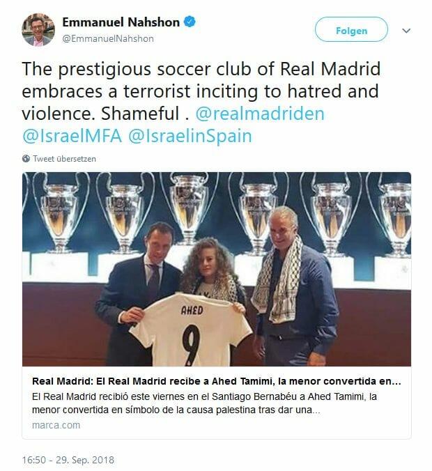 Ahed Tamimi: Real Madrid empfängt antiisraelische Symbolfigur