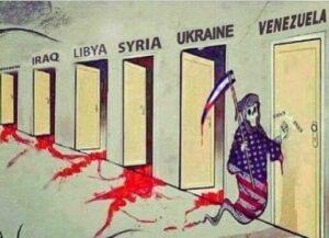 Antisemitisches Karikaturt zeigt USA als Tod mit Israel als Sense