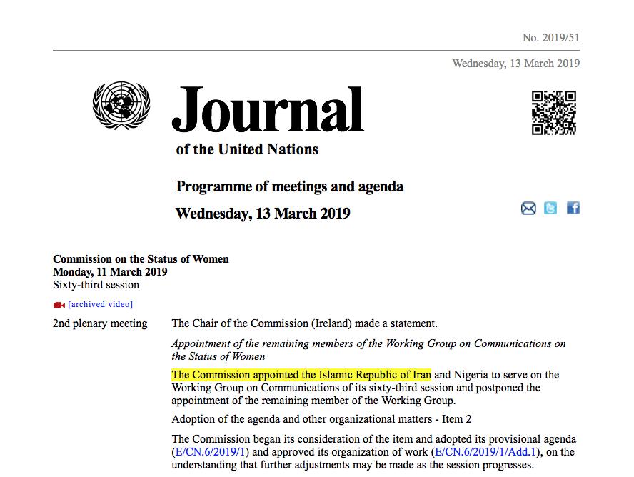 Nächste UNO-Farce: Iran soll sich um Schutz von Frauenrechten kümmern