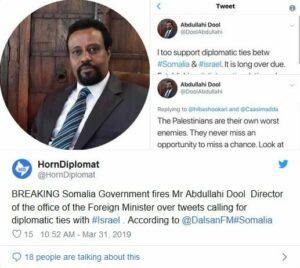 Somalischer Diplomat entlassen – weil er Beziehungen zu Israel forderte