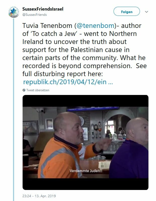 Was Tuvia Tenenbom in einem nordirischen Pub zu hören bekam