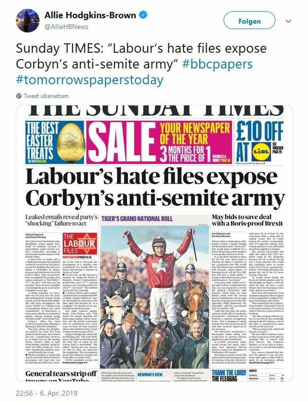 Labour-Führung vereitelt Schritte gegen Antisemiten in der Partei