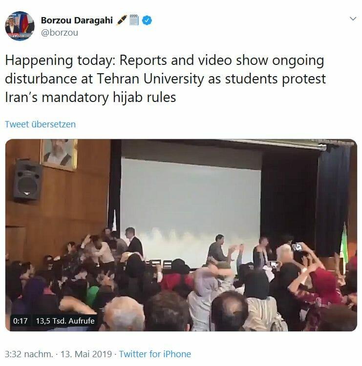 Iranische Studenten protestieren gegen Kopftuchzwang
