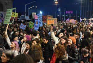 Demonstration gegen Gewalt gegen Frauen in Istanbul