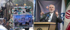 Poster von PIJ-Führer Ziyad Al-Nakhalah, Irans Außenminister Zarif