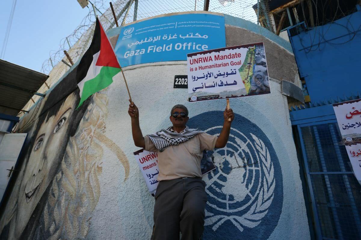 Israel existiert nicht. Demonstrant vor dem UNRWA-Hauptquartier in Gaza