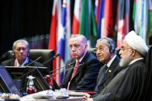 Erdogan, Mohamad und Rohani beim Gipfeltreffen in Malaysia (imago images/HBLnetwork)