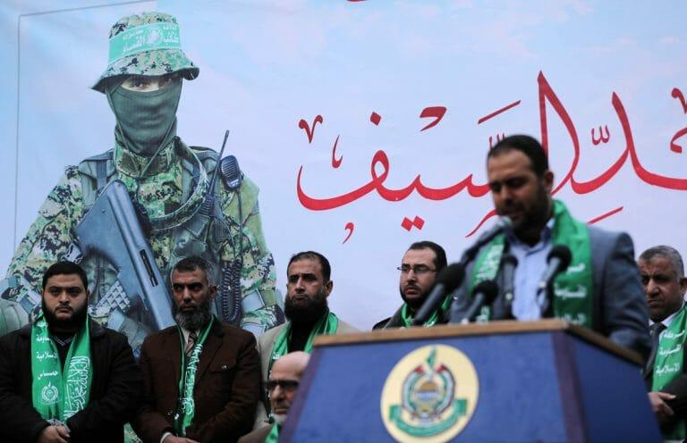 """Pressekonferenz der Hamas im Gazastreifen, 8. Dezember 2019. In Berlin fand wenige Tage später die laut Verfassungsschutz """"wichtigste Propagandaveranstaltung der Hamas in Europa"""" statt (Quelle: imago images / ZUMA Press)"""