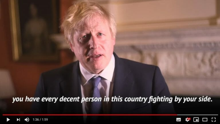 Boris Johnsons Videobotschaft zum Chanukka-Fest (Quelle: Youtube)