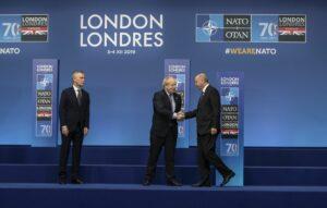 NATO-Generalsekretär Stoltenberg, britischer Premierminister Johnson und türkischer Präsident Erdogan auf dem NATO-Gipfel in London