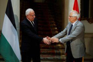Außenminister der Palästinensischen Autonomiebehörde Mailk und EU-Außenbeauftragter Borrell