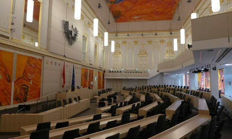Provisorischer Parlamentssaal in der Wiener Hofburg
