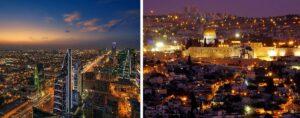 Saudi-Arabiens Hauptstadt Riad und Israels Hauptstadt Jerusalem