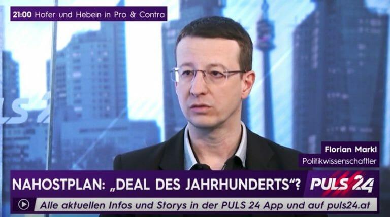 Florian Markl im Interview über Trumps Friedensplan (Quelle: Puls 24)