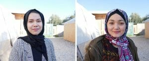Die beiden jungen Afghaninnen Asila (re.) und Aziza (li.) im Flüchtlingslager Moria auf Lesbos