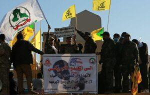 Vertrter der iranisch gelenkten Volkmobilisierungseinheiten demonstrieren vor der US-Botschaft in Bagdad