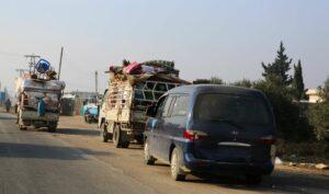 Flüchtlingskonvoi in der Region Idlib