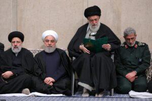 Präsident Rohani, Revolutionsführer Khamenei und der neue Quds-Force-Kommandant Esmail Ghaani bei der Trauerfeier für Qasem Soleimani