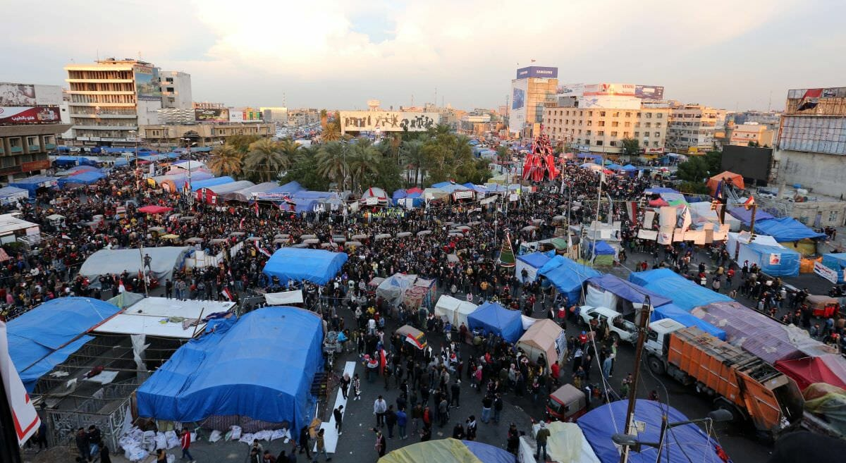 Protestcamp auf dem Tahrir-Platz in Bagdad