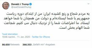 Solidaritäts-Tweet von US-Präsident Trump an die iranischen Demonstranten