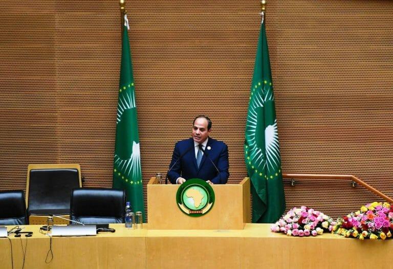 Ägyptens Präsident as-Sisi auf einem Gipfel der Afrikanischen Union. Die türkischen Ambitionen im Mittelmeer sind ihm ein Dorn im Auge. (imago images/Xinhua)