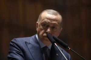 Turkey President Recep Tayyip Erdogan speaks during Justice and Development Party weekly parliamentary meeting in Ankara, Turkey. 16668685