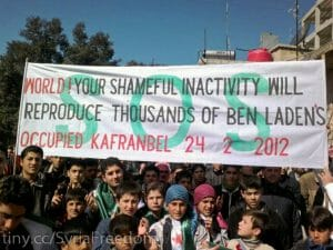 Protest in Kafranbel mit Message an die Welt (Freedom House/CC BY 2.0)