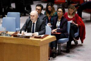 Im UN-Sicherheitsrat stieß der türkische Botschafter Drohungen gegen Syrien aus. Laut Erdogan hat die Türkei in Syrien eine Chemiewaffenfabrik zerstört. (imago images/Xinhua)