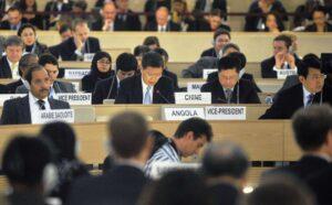 Eine Institution, wie George Orwell sie sich nicht schlimmer hätte ausdenken können: der UN-Menschenrechtsrat in Genf (imago images/Xinhua)