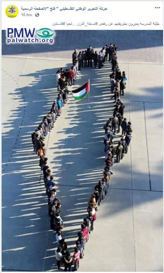 Schulkinder bilden die Umrisse dessen, was die Fatah als Palästina ansieht