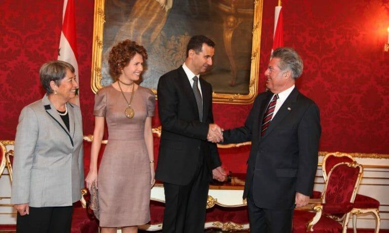 Der damalige österreichische Bundespräsident Heinz Fischer und Syriens Präsident Assad im April 2009