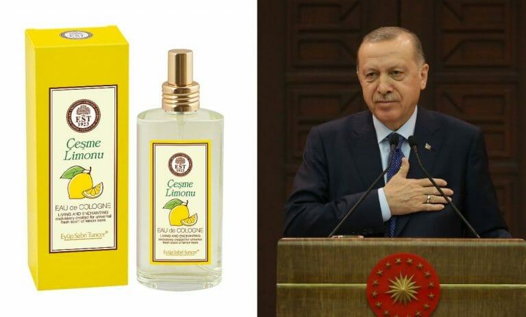 Türkisches Kölnischwasser, Erdogan grüßt mit Hand auf der Brust