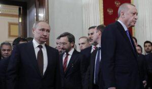 Strahlende Sieger sehen anders aus: Putin und Erdogan nach ihrer Einigung über Idlib