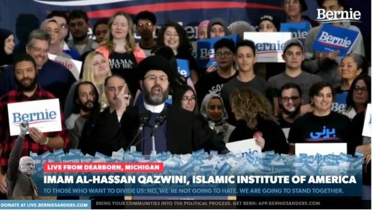 Der schiitische Imam Hassan Qazwini auf einer Wahlkampfveranstaltung für Bernie Sanders