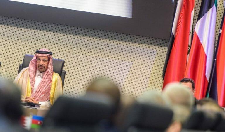Der saudische Energieminister Khalid Al-Falih auf einem OPEC-Treffen 2019 in Wien