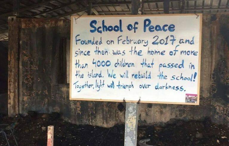 """Die in der Flüchtlingseinrichtung """"One Happy Family"""" befindliche Schule"""