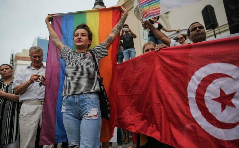 Demonstration für die Rechte von Homosexuellen in Tunesien