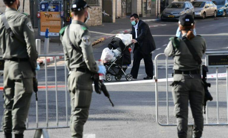 """Israelische Sicherheitskräfte kontollieren die """"beschränkte Zone"""" Bnei Brak"""