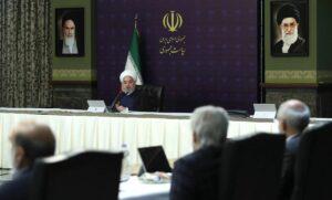 IRans Präsident Rohani auf einem Treffen zur Corona-Bekämpfung