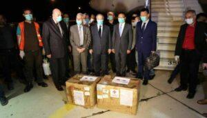 Zeremonie zu Begrüßung der chinesischen Corona-Hilfslieferung für Syrien